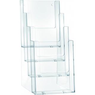 HELIT Tischprospekthalter 4 Taschen Format 1/3 A4 transparent