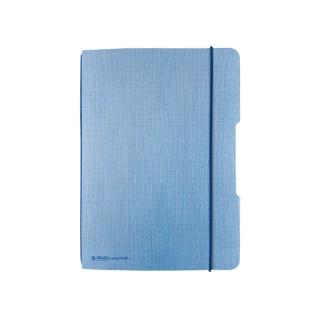 HERLITZ Notizbuch mit Gumnmizug DIN A5 40 Blatt kariert hellblau