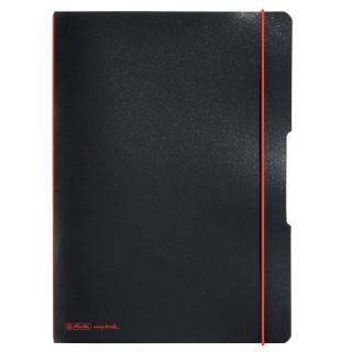 HERLITZ Notizbuch DIN A4 2x40 Blatt liniert und kariert schwarz