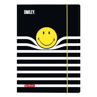 HERLITZ Smiley Sammelmappe mit drei Innenklappen A4 schwarz mit Motiv