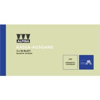 ALPINA Kassa-Ausgangsbuch 3x50 Blatt 20x10,5 cm selbstdurchschreibend