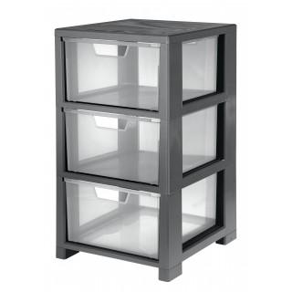 CEP Schubladenbox mit 3 Schubladen transparent