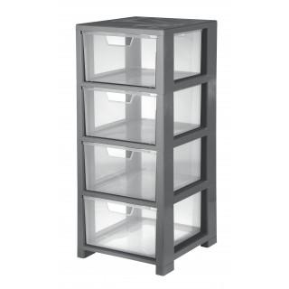CEP Schubladenbox mit 4 Schubladen transparent