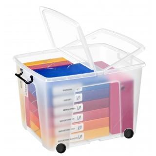 CEP Aufbewahrungsbox Strata mit Doppelklappdeckel 75 Liter mit Rollen transparent