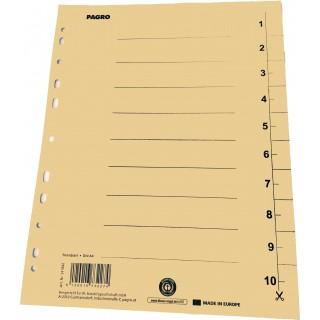 PAGRO Trennblätter 100 Stück DIN A4 Karton 250g/m² chamois