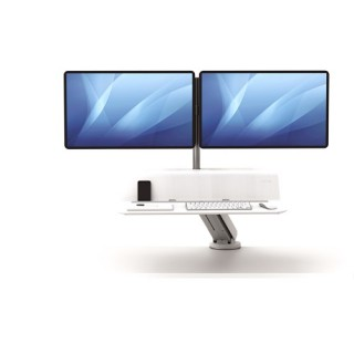 FELLOWES Lotus RT Sitz-Steh Workstation für 2 Monitore weiß