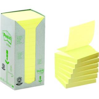 POST-IT® Haftnotizen Recycling Z-Notes 16 Blöcke à 100 Blatt 76 x 76 mm gelb
