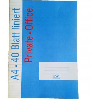 OFFICE Heft DIN A4 40 Blatt 80g/m² liniert
