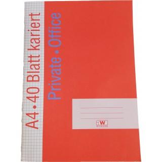 OFFICE Heft DIN A4 40 Blatt 80g/m² kariert