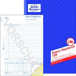 AVERY ZWECKFORM Regiebericht 1769 DIN A4 2x40 Blatt selbstdurchschreibend