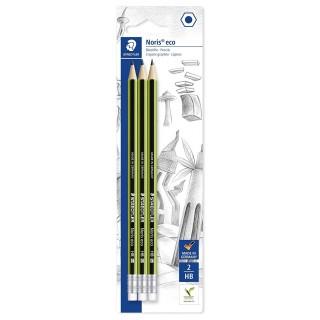 STAEDTLER Bleistift Noris® eco 182 mit Radiertip 3 Stück HB