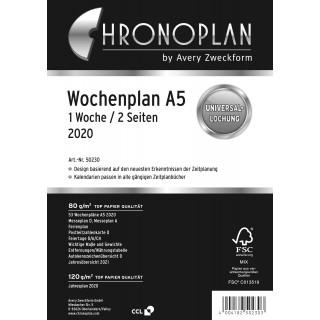 AVERY ZWECKFORM Chronoplan Wochenplan 50230 DIN A5 126 Blatt für 2020