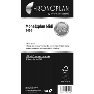 AVERY ZWECKFORM Chronoplan Monatsplan 50510 Midi 24 Blatt für 2020