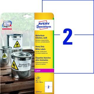 AVERY ZWECKFORM Wetterfeste Etiketten L4717-20 40 Stück 210x148 mm weiß