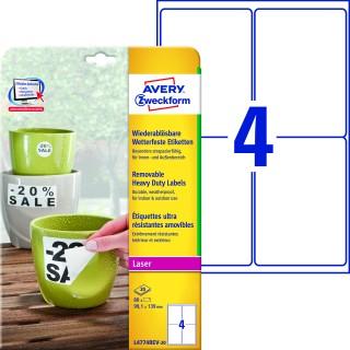 AVERY ZWECKFORM Wetterfeste Etiketten L4774REV-20 wiederablösbar 80 Stück 99,1x139 mm weiß