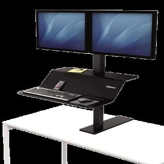 FELLOWES Sitz-Steh Workstation Lotus™ VE für zwei Monitor schwarz
