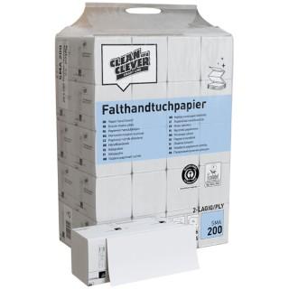CLEAN & CLEVER Papierhandtücher SMA2000 4.000 Blatt 2-lagig 24,4 x 23 cm weiß