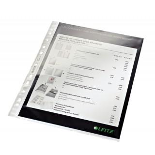 LEITZ Prospekthülle Standard 4770 100 Stück DIN A4 mit Universallochung glasklar transparent