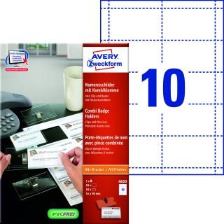 AVERY ZWECKFORM Namensschild 4820 50 Stück inkl. Ausweishüllen mit Kombiklemme 54 x 90 mm weiß
