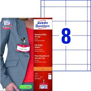 AVERY ZWECKFORM Namensschild 4822 32 Stück inkl. Ausweishüllen mit Clip 60 x 90 mm weiß