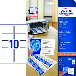 AVERY ZWECKFORM Visitenkarten C32010-25 250 Stück mit Mikroperforation matt 185g/m² 85x54mm weiß