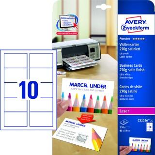 AVERY ZWECKFORM Visitenkarten C32026-25 250 Stück satiniert 270g/m² 85 x 54 mm weiß