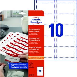 AVERY ZWECKFORM Einsteckschild L4727-20 200 Stück mit Mikroperforation matt 54x90mm weiß