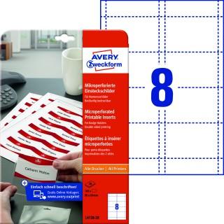 AVERY ZWECKFORM Einsteckschild L4728-20 200 Stück mit Mikroperforation matt 60x90mm weiß
