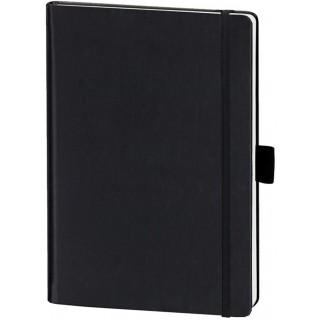 LEYKAM Notizbuch Denkzettel DIN A4 192 Blatt mit Elastikband kariert und perforiert schwarz/schwarz
