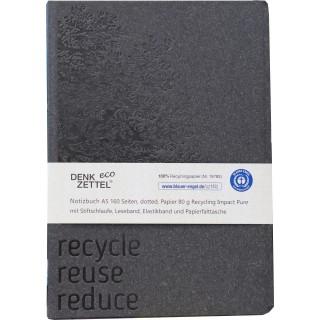 LEYKAM Notizbuch Denkzettel A5 192 Blatt mit Elastikband gepunktet 148 x 210 mm grau