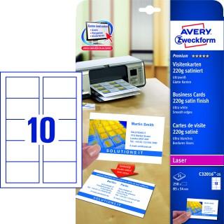 AVERY ZWECKFORM Visitenkarten C32016-25 250 Stück satiniert 220g/m² 85 x 54 mm ultraweiß