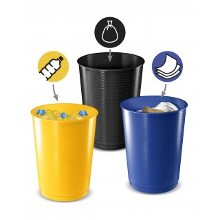 CEP Abfalleimer Set 3 Stück 40 Liter schwarz/blau/gelb
