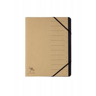 PAGNA Ordnungsmappe Pur 40061 DIN A4 12 Fächer mit Organisationsdruck 1-12 naturbraun