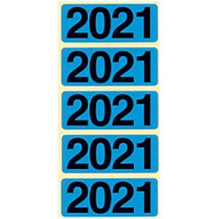 """BENE Jahresschild 92021 100 Stück """"2021"""" selbstklebend blau"""