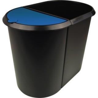 HELIT Papierkorb the double H6103993 20+9 Liter Duo-System mit Deckel schwarz/blau