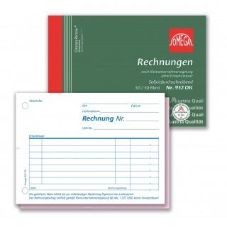 OMEGA Rechnungsbuch 952OK DIN A6 quer 2x50 Blatt für Kleinunternehmer selbstdurchschreibend