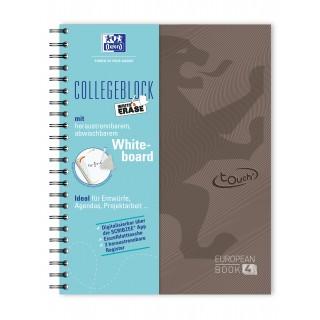 OXFORD Collegeblock Touch Europeanbook DIN A4+ 120 Blatt kariert mit Whiteboard braun