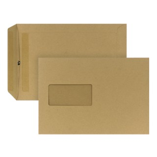 Versandtasche 500 Stück DIN C5 mit Fenster selbstklebend braun