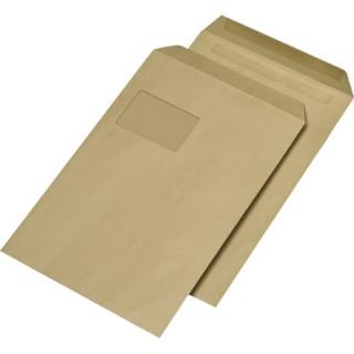 Versandtasche 250 Stück DIN C4 mit Fenster selbstklebend braun