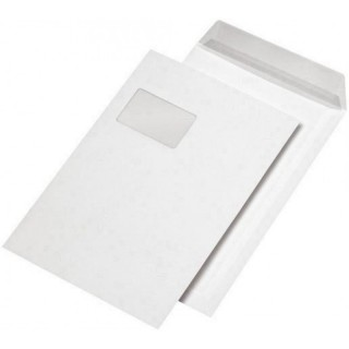 MAILMEDIA Versandtasche 250 Stück DIN C4 mit Fenster mit Abziehstreifen 90g/m² weiß