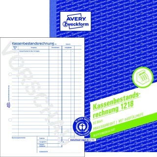 AVERY ZWECKFORM Kassenbestandsrechnung 1218 DIN A5 50 Blatt ohne Durchschlag