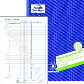 AVERY ZWECKFORM Kassenabrechnung 1227 DIN A4 2x50 Blatt mit Blaupapier