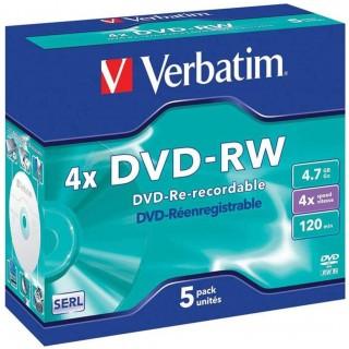 VERBATIM DVD+RW 5 Stück 4,7GB 4x Jewel Case