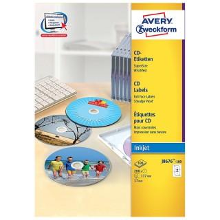 AVERY ZWECKFORM CD-Etiketten Ø 11,7 cm 200 Stück weiß