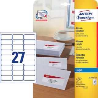 AVERY ZWECKFORM Adressetiketten J4792-25 675 Stück 63,5 x 29,6 mm weiß