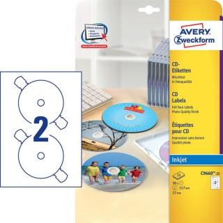 AVERY ZWECKFORM CD-Etiketten C966 50 Stück Ø 117 mm Super Size weiß