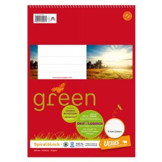 URSUS GREEN Spiralblock 10 Stück A4 48 Blatt liniert