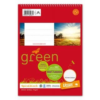 URSUS GREEN Spiralblock 10 Stück A5 48 Blatt liniert