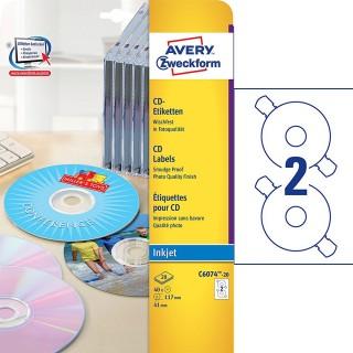 AVERY ZWECKFORM CD-Etiketten C6074-20 Ø 11,7 cm 40 Stück weiß