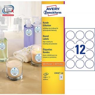 AVERY ZWECKFORM Runde Etiketten L3416-100 1.200 Stück Ø 60 mm weiß